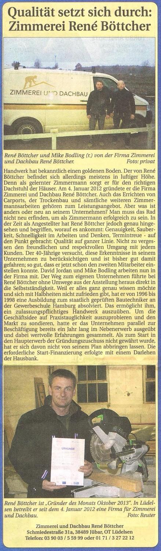 Zimmerei René Böttcher, Lüdelsen, SonntagsNachrichten vom 20131124