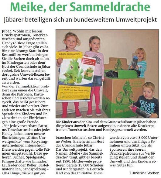 20140108 Findling - Jübar - Recyclingaktion 'Meike - der Sammeldrache'