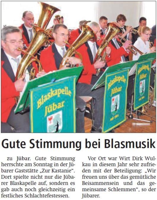 20140130 Altmark Zeitung - Jübar - Schlachtefestessen