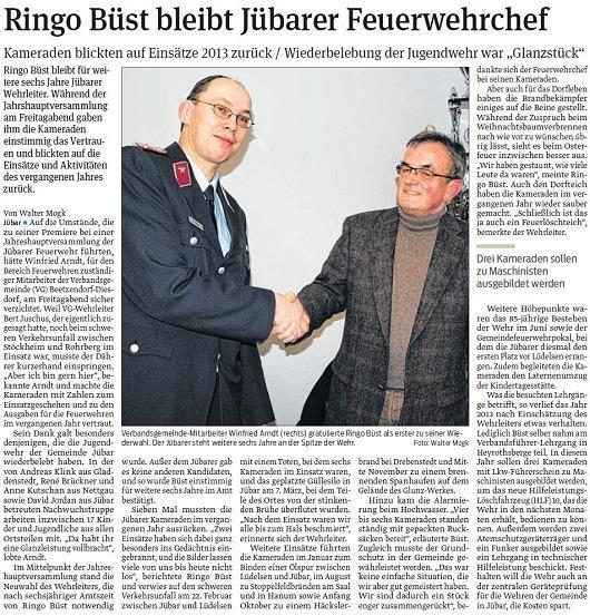 20140203 Volksstimme - Jübar - FFW Ringo Büst