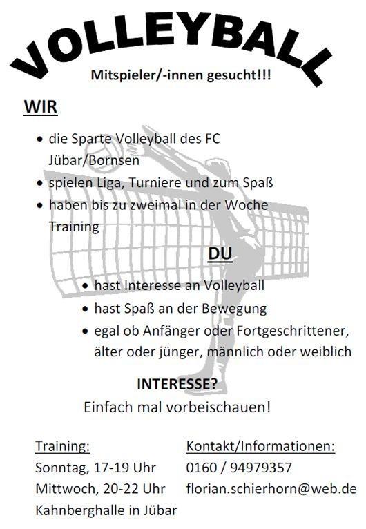 - FC Jübar/Bornsen sucht Volleyballmitspieler! -
