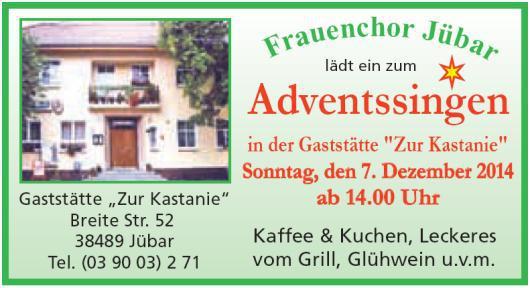 - Jübar - Adventssingen des Frauenchores bei Wulkau -