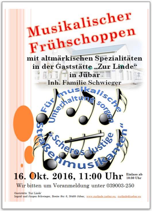 - Jübar - Musikalischer Frühschoppen am 16. Oktober -