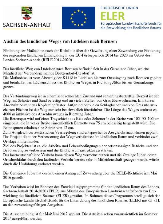 20170421 Maßnahmebeschreibung Ausbau des ländlichen Weges von Lüdelsen nach Bornsen