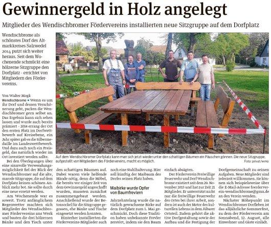 20170514 Wendischbrome - Förderverein erstellt Sitzgruppe - 20170516 Volksstimme - Artikel von Walter Mogk.jpg