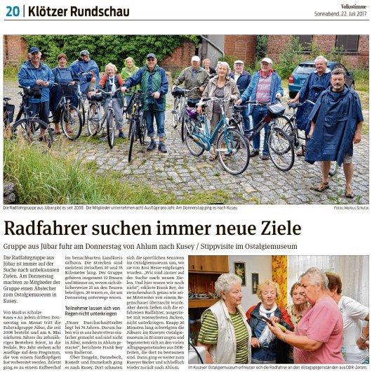 20170720 - Jübar - Radfahrgruppe im Kuseyer Ostalgiemuseum - Volksstimme