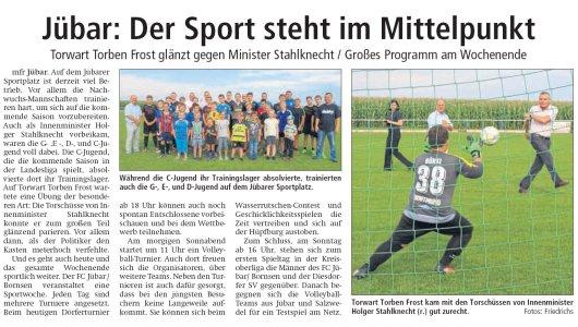 20170804 Altmark Zeitung - Jübar - Trainingslager mit Innenminister