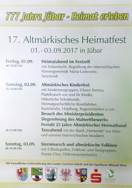 Plakat zum '17. Altmärkischen Heimatfest' und '777 Jahre Jübar'