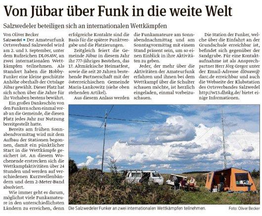 20170901 Volksstimme - Amateurfunk auf dem Heimatfest - von Oliver Becker