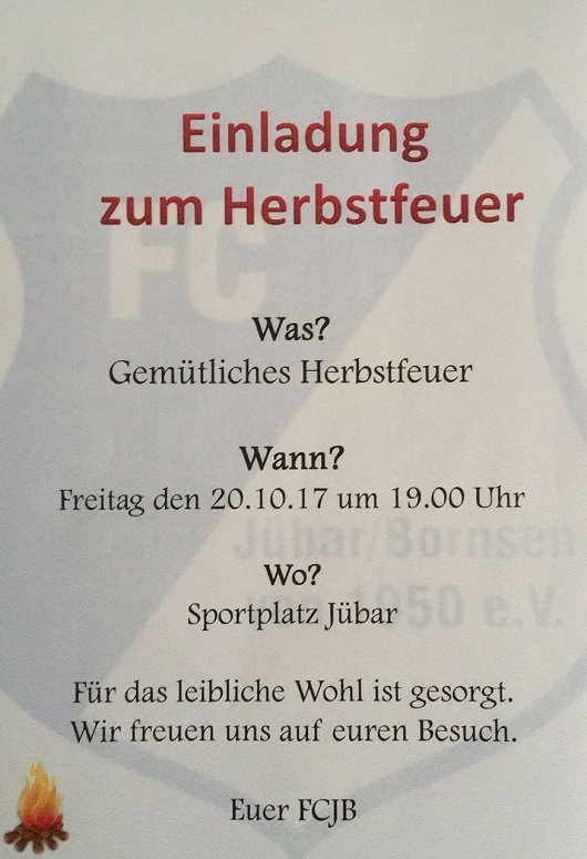 20171020 - Jübar/Bornsen - FCJB - Einladung zum Herbstfeuer -