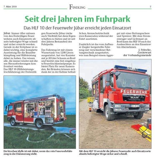 20180307 Findling - Jübar - HLF 10 der FFW Jübar