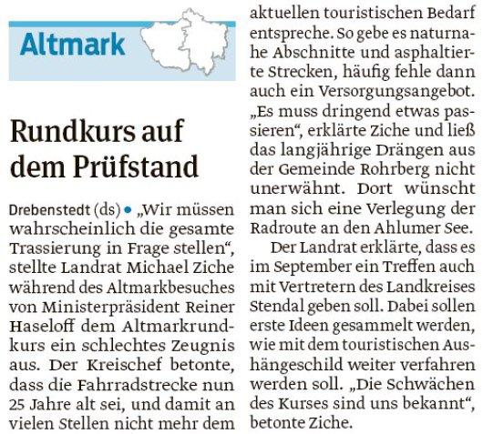 20180803 Volksstimme - Drebenstedt, Altmarkrundkurs (von D. Schröder)