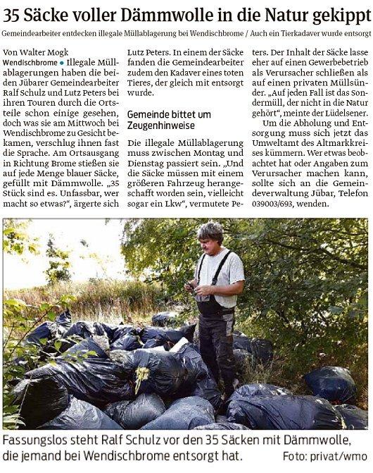 20180803 Volksstimme - Wendischbrome - illegale Müllablagerung (von Walter Mogh)