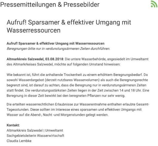 20180803 Pressemitteilung Altmarkkreis SAW - Aktuelle Information 'Umgang mit Wasserressourcen'