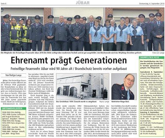 20180906 Altmark Zeitung - Jübar - FFW 90 Jahre von Rüdiger Lange