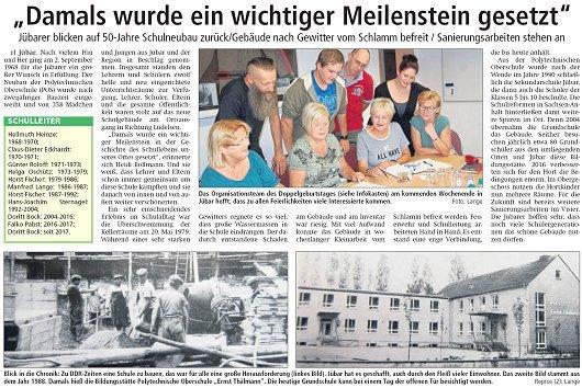 20180906 Altmark Zeitung - Jübar - 50 Jahre Schulneubau von Rüdiger Lange