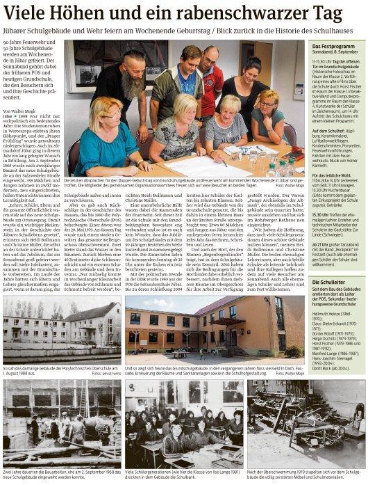 20180906 Volksstimme - Jübar - 50 Jahre Schulneubau von Walter Mogk