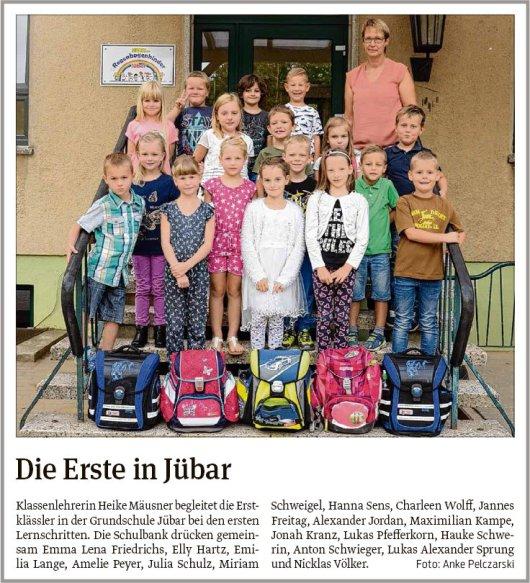 20180906 Volksstimme - Jübar - Einschulung der Grundschüler von Anke Pelczarski