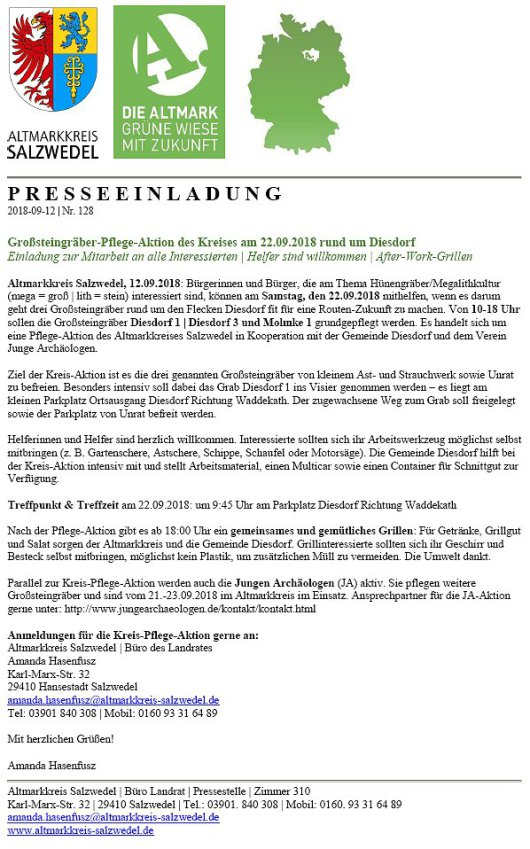20180912 Großsteingräber-Pflege-Aktion des Kreises am 22.09.2018 rund um Diesdorf