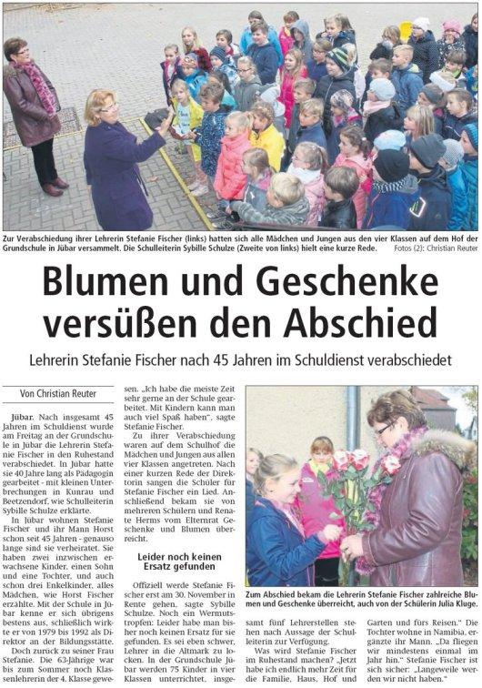20181103 Altmark Zeitung - Jübar - Grundschule und Stefanie Fischer (Von Christian Reuter)