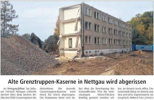 20181105 Altmark Zeitung - Kasernenabriss in Nettgau 1 - von Kai Zuber