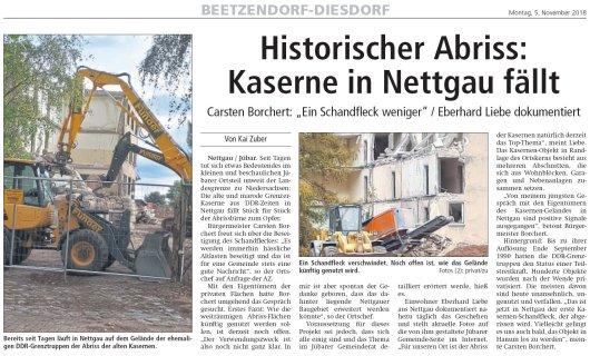 20181105 Altmark Zeitung - Kasernenabriss in Nettgau 2 - von Kai Zuber