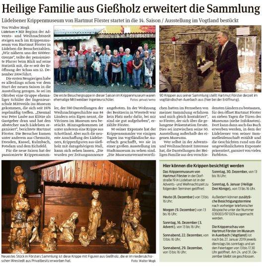20181208 Volksstimme - Lüdelsen - Krippenmuseum, Heilige Familie aus Gießholz (von Walter Mogk)