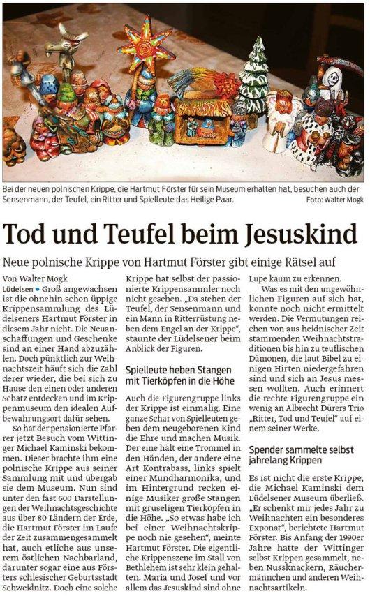 20181222 Volksstimme - Lüdelsen - Krippenmuseum, Tod und Teufel beim Jesuskind (von Walter Mogk)