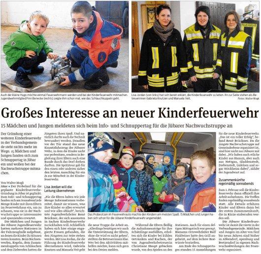 20190122 Volksstimme - Gemeinde Jübar - Kinderfeuerwehr (von Walter Mogk)