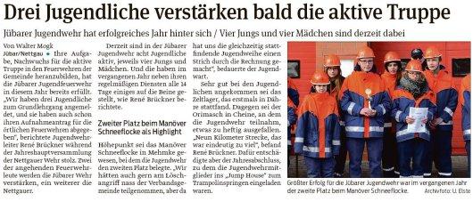 20190124 Volksstimme - Jugendfeuerwehr Gemeinde Jübar - Anmeldung zum Grundlehrgang (von Walter Mogk)