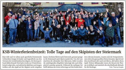 20190219 Volksstimme - KSB-Winterfreizeit in Maria Lankowitz (von Thomas Koepke)