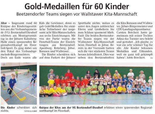 20190227 Altmark Zeitung - Jübar - Floorball der Kitakinder in der Kahnberg-Halle (von Kai Zuber)