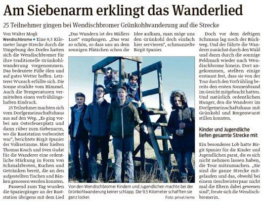 20190228 Volksstimme - Wendischbrome - Am Siebenarm erklingt das Wanderlied (von Walter Mogk)