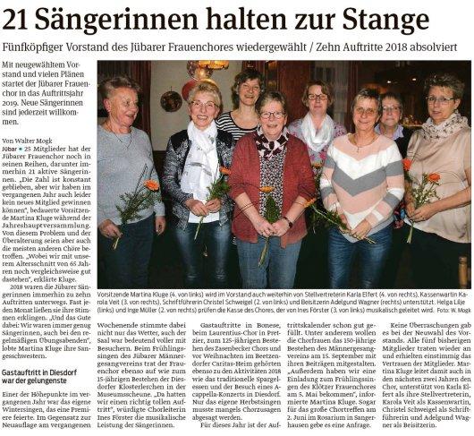 20190309 Volksstimme - Jübar - Vorstand des Jübarer Frauenchores wiedergewählt (von Walter Mogk)