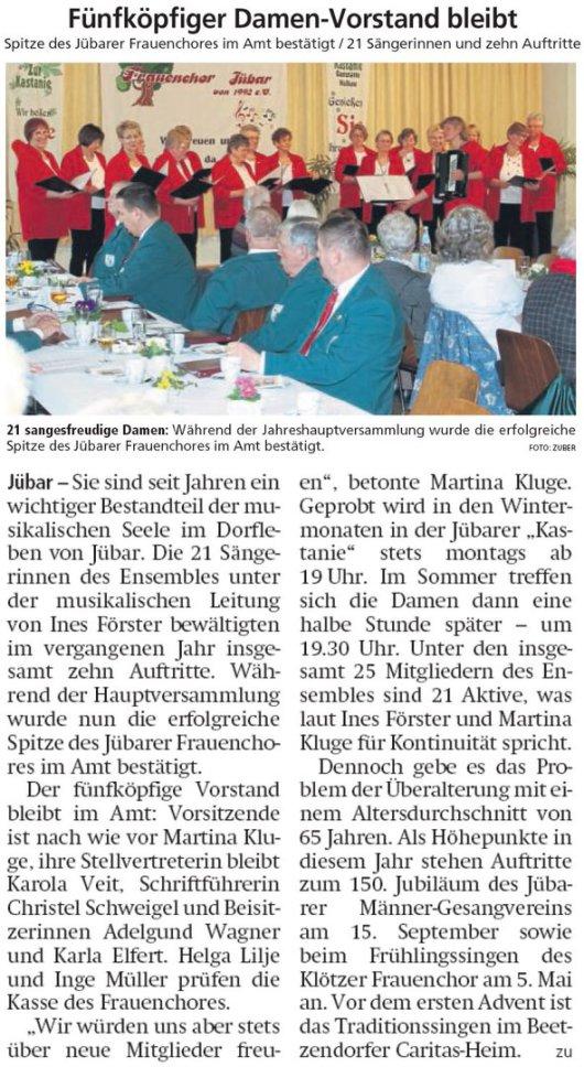 20190311 Altmark Zeitung - Jübar - Frauenchor hatte 10 Auftritte mit 21 Sängerinnen (von Kai Zuber)