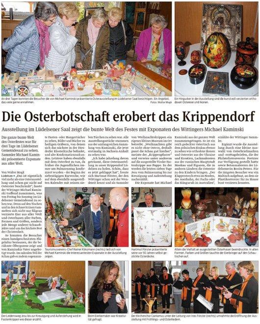 20190415 Volksstimme - Lüdelsen - Osterbotschaft erobert das Krippendorf (von Walter Mogk)