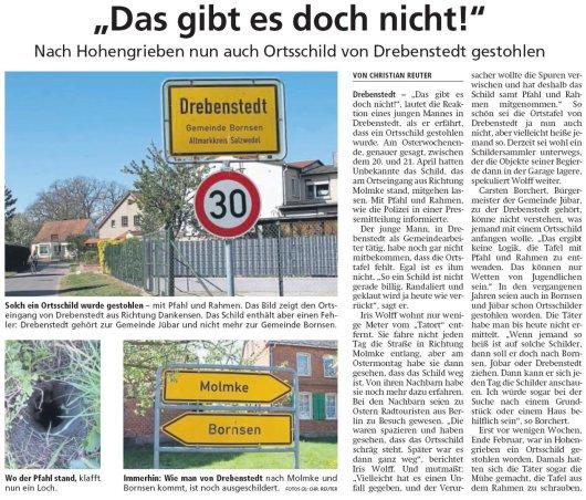 20190426 Altmark Zeitung - Drebenstedt - Ortsschild mit Stumpf und Stiel gestohlen (Christian Reuter)