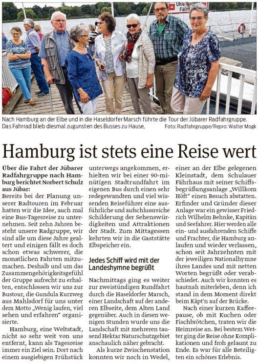 20190620 Volksstimme - Jübar - Radfahrgruppe - Zusammengehörigkeitsgefühl in Hamburg bewahrt (Norbert Schulz)