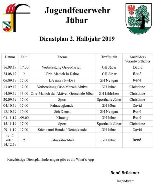 Gemeinde Jübar - Jugendfeuerwehr - Dienstplan 2 2019