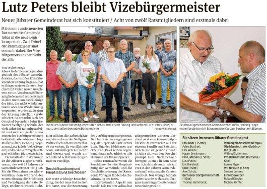 20190727 Volksstimme - Gemeinde Jübar - 12 Räte für Gemeinde Jübar (Walter Mogk)
