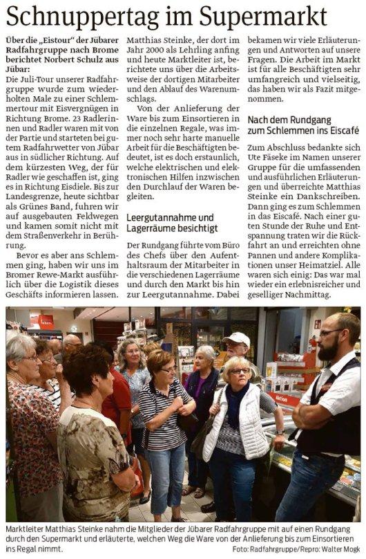 """20190729 Volksstimme - Jübar - Radfahrgruppe - """"Eistour"""" nach Brome (Norbert Schulz)"""