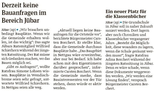 20190910 Volksstimme - Gemeinde Jübar - Bauanfragen und Klassenbücher (Anke Pelczarski)
