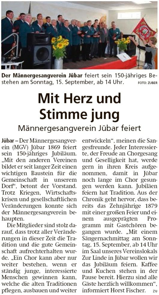 20190911 Altmark Zeitung - Jübar - MGV feiert am 15.9.2019 150-jähriges Bestehen (Kai Zuber)