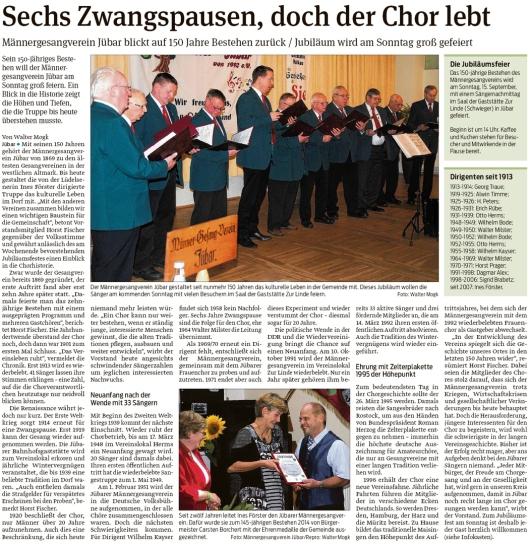 20190911 Volksstimme - Jübar - MGV feiert am 15.9.2019 150-jähriges Bestehen (Walter Mogk)