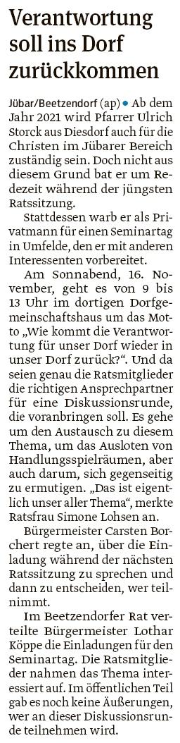 20190911 Volksstimme - Gemeinde Jübar - Pfarrer Ulrich Storck bietet Seminartag (Anke Pelczarski)
