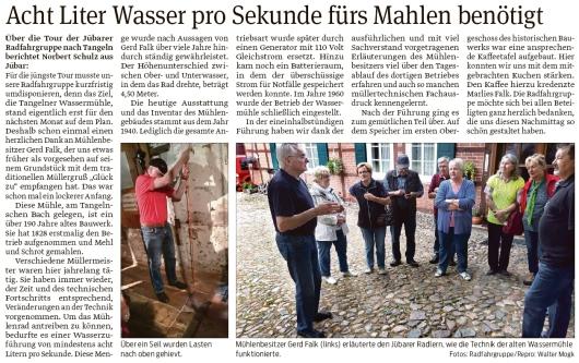 20190911 Volksstimme - Jübar - Jübarer Radfahrgruppe an Tangelnscher Wassermühle (Walter Mogk)