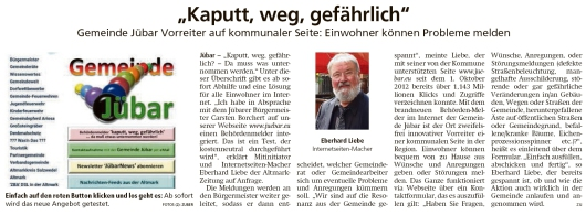 20190914 Altmark Zeitung - Gemeinde Jübar - Behordenmelder auf Gemeindewebseite (Kai Zuber)