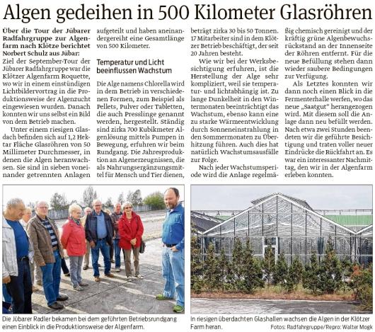 20190927 Volksstimme - Jübar - Jübarer Radfahrgruppe zur Algenfarm (Walter Mogk)