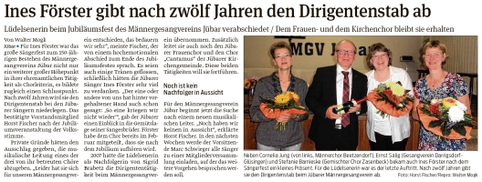 20190919 Volksstimme - Jübar - MGV - Ines Förster beendet Dirigentschaft (Walter Mogk)