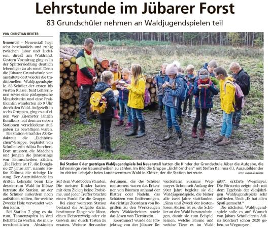 20191018 Altmark Zeitung - Neuenstall - Waldjugendspiele der Grundschule Jübar (Christian Reuter)